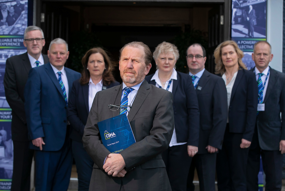30/05/2019. FREE TO USE IMAGE. The Convenience Stores and Newsagents Association (CSNA) demand ZERO TOLERANCE as they launch Security Report at their National Conference. Pictured are the CSNA National Executive Joe Mannion, Joe Tierney, Ann Martyn, Vincent Jennings, Carmel Felle, Peter Gaughan, Marcella O'Neill and Denis O'Flynn. Picture: Patrick Browne Press Release: Thursday, 30 May 2019 For Immediate Release The Convenience Stores and Newsagents Association (CSNA) demand ZERO TOLERANCE as they launch Security Report at their National Conference Today, The CSNA launched a Security Report as part of their 2019 National Conference at Fitzpatrick Castle Hotel, Killiney, Co. Dublin. Government, An Garda Síochána and the judiciary are all being called on to act decisively as retailers demand zero tolerance in their fight against crime in their sector. The CSNA, an independent retail association which represents over 1,500 members, all convenience store owners and newsagents conducted a national survey in February of this year. They sought and gained the support of major symbol groups BWG Foods and Musgrave Group to roll out this survey to the wider retail community. The findings of the survey published today have makes for grim reading. A total of 1,820 retailers took part to voice their collective dismay at the security risks posed to retailers and their staff on a daily basis in Ireland. The highest percentage of those represented in the report were 'convenience store owners', some with forecourts and/or in-store post offices, collectively accounting for 75% of those surveyed. Aggressive, violent and threatening behaviour, shoplifting, begging as well as Garda response to retail crime, legislation and faith in the justice system are all covered in the succinct 24-page report. 84% of the retailers surveyed reported that they had an incident involving aggressive, violent and threatening behaviour. Remarkably, 43% of those suffered this injustice as r