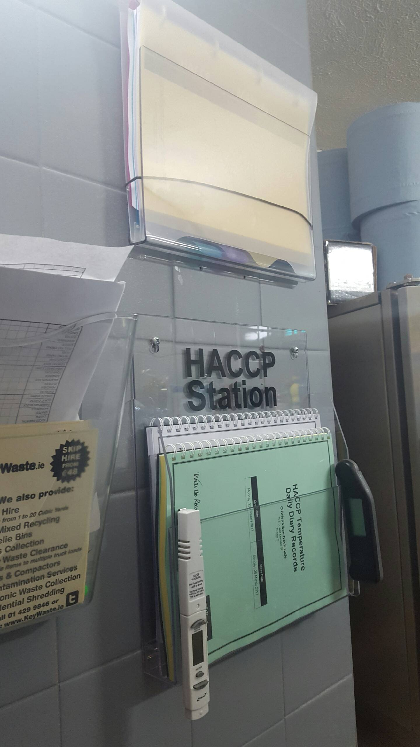Photo of HACCP station on wall
